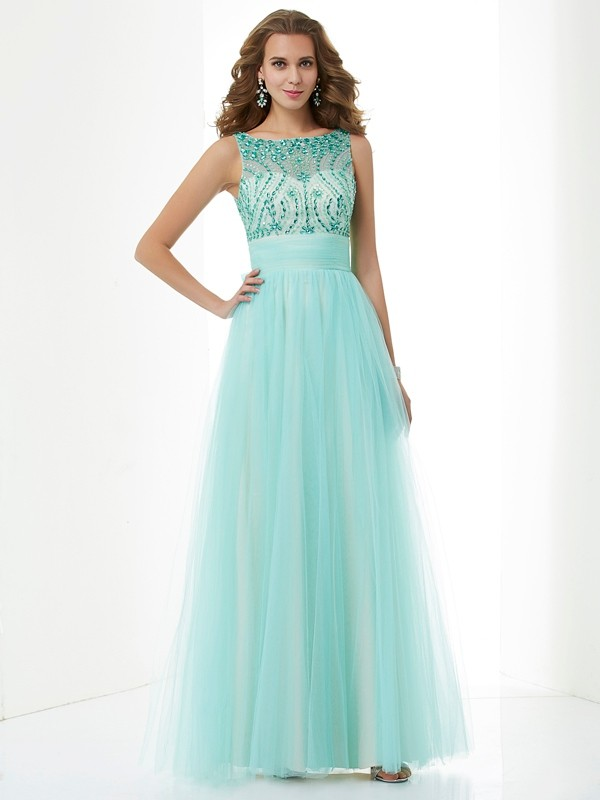 A-Line/Princess Bateau Elastic Woven Satin Evening/Prom/Formal Dresses with Beading