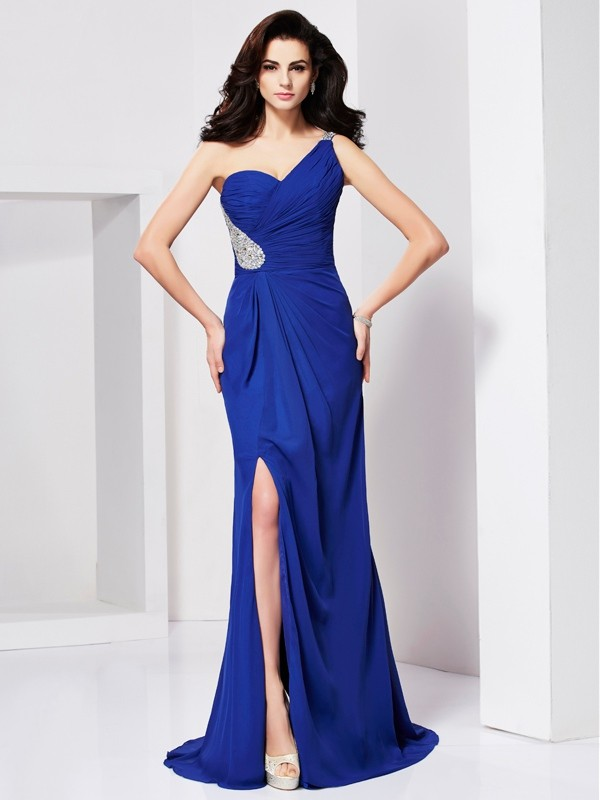 A-line/Princess Sleeveless One-shoulder Sweep/Brush Train Dresses with Pleats Beading