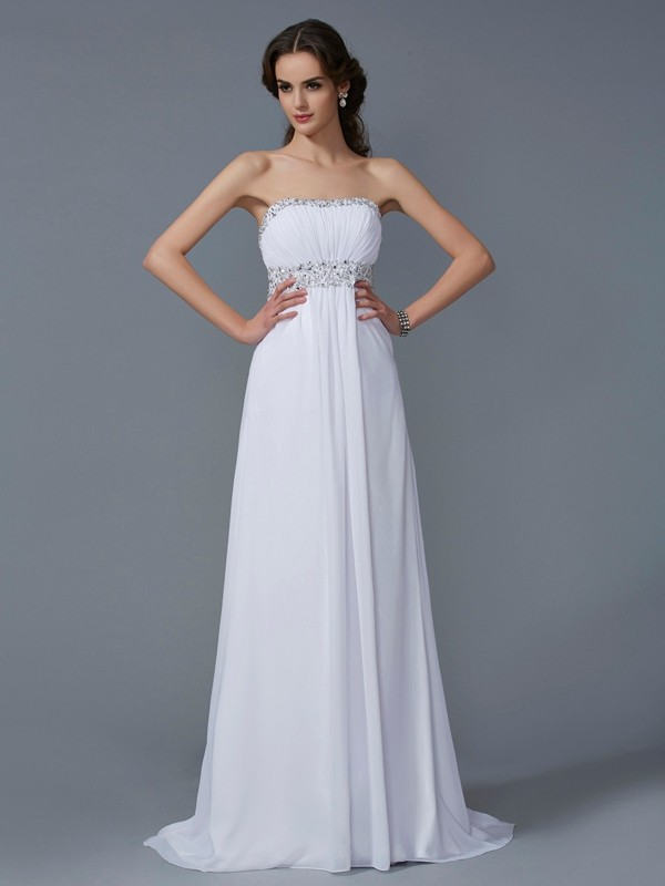 A-Line/Princess Strapless Chiffon Sweep/Brush Train Evening/Prom/Formal Dresses with Beading