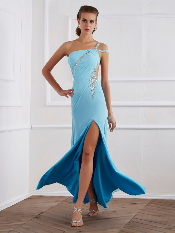 One-Shoulder Sleeveless Floor-Length Chiffon Prom/Evening/Formal Dresses with Beading