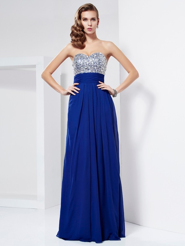 Sheath Floor-Length Sweetheart Sleeveless Chiffon Dresses with Rhinestone