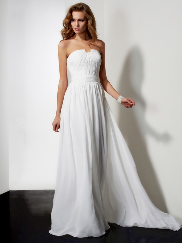 A-Line Sleeveless Sweep/Brush Train Strapless Chiffon Dresses with Ruffles with