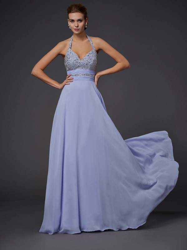 A-Line Halter Sleeveless Floor-Length Chiffon Dresses with Beading