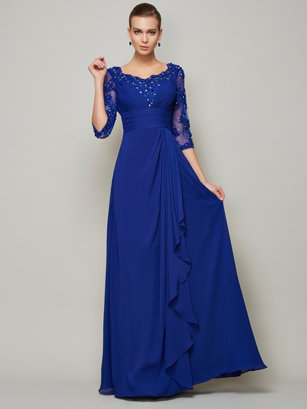 Princess Chiffon Scoop 3/4 Sleeves Floor-Length Mother of the Bride Dresses