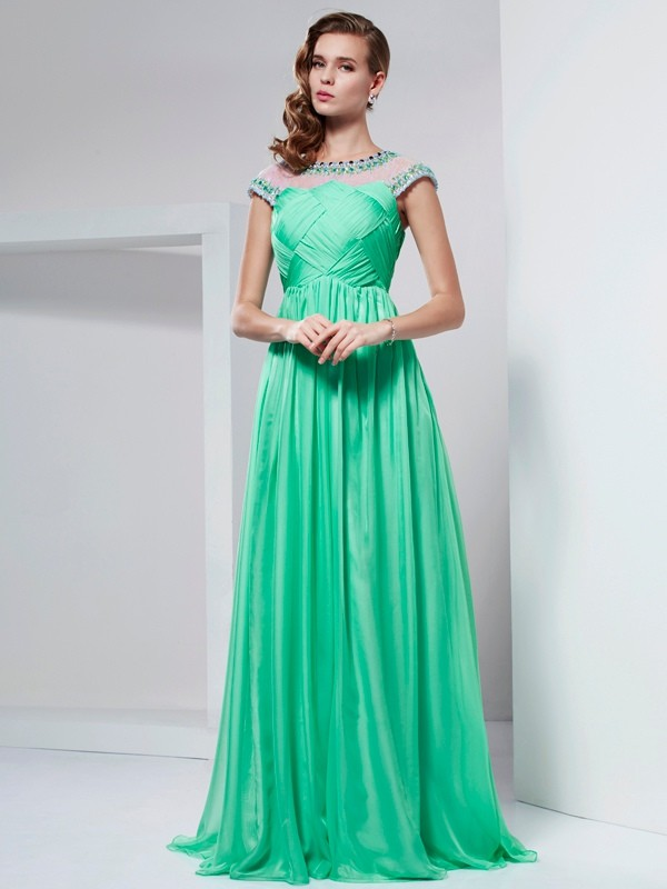 Princess High Neck Floor-Length Chiffon Dresses with Beading