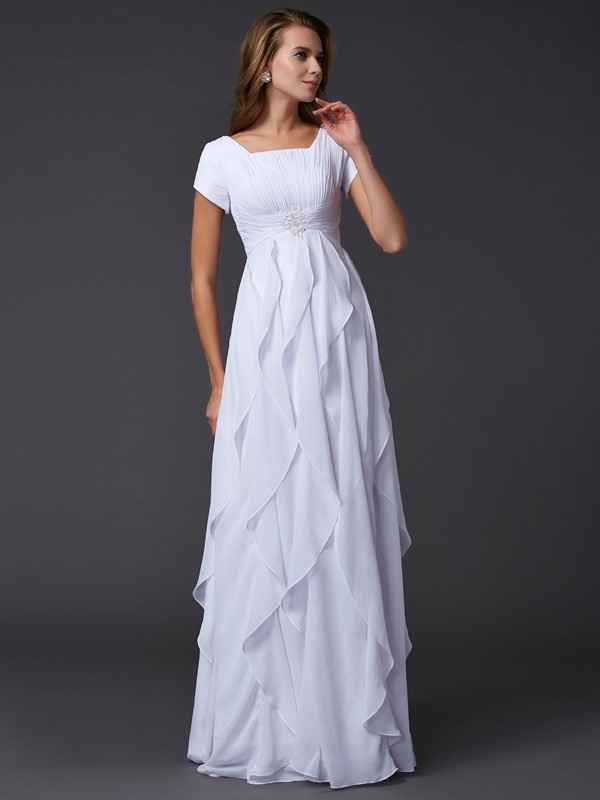 Column Short Sleeves Square Chiffon Long Prom/Evening Dresses with Ruffles with