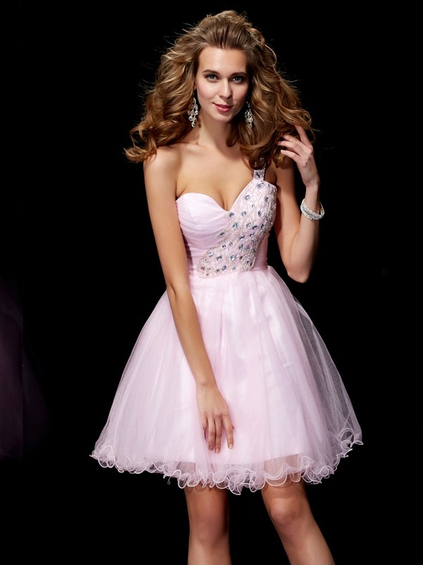 Princess One Shoulder Sleeveless Elastic Woven Satin Short Cocktail/Homecoming Dresses with Beading