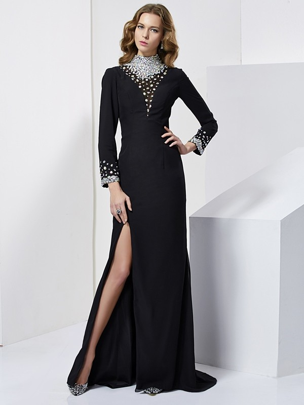 Column Long Sleeves High Neck Chiffon Long Prom/Evening Dresses with Beading