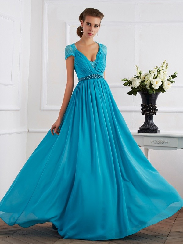 Princess V-neck Short Sleeves Chiffon Long Prom/Evening Dresses with Beading