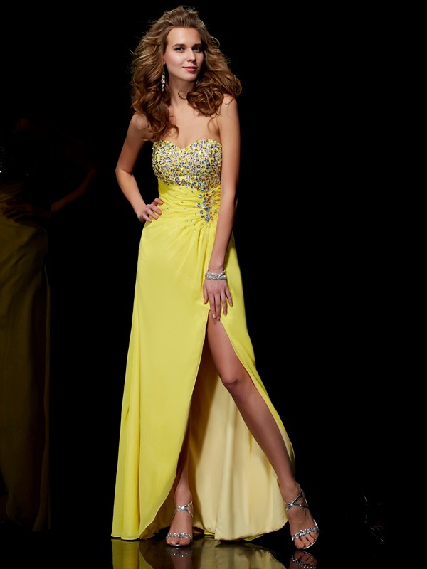 Princess Sweetheart Sleeveless Floor-length Chiffon Prom/Evening Dresses with Beading