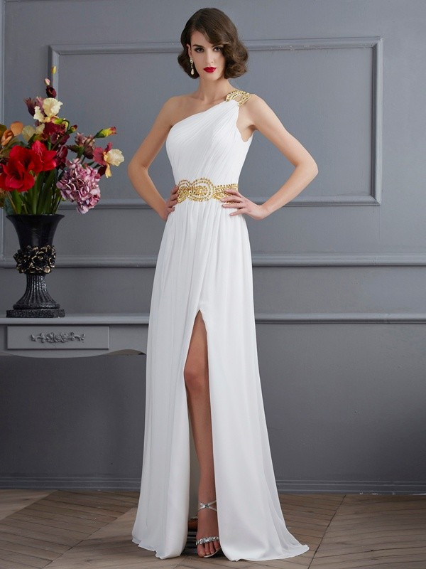 A-Line/Princess One-Shoulder Sleeveless Sweep/Brush Train Chiffon Dresses with Ruched