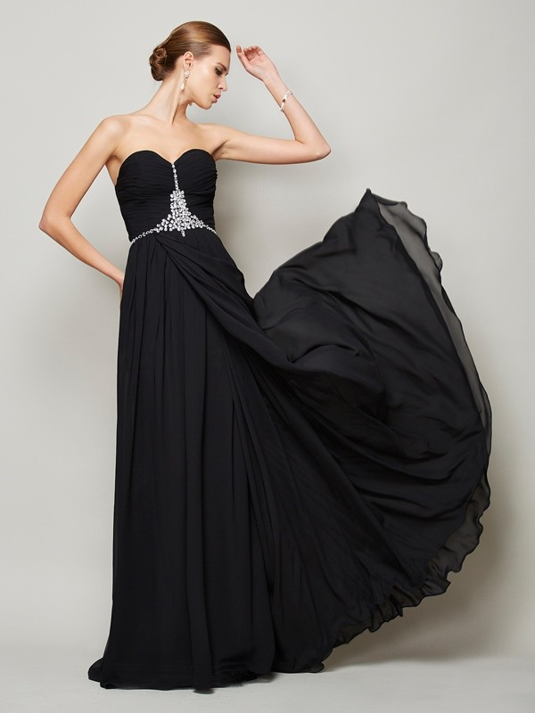 Princess Floor-Length Sweetheart Sleeveless Chiffon Dresses with Beading