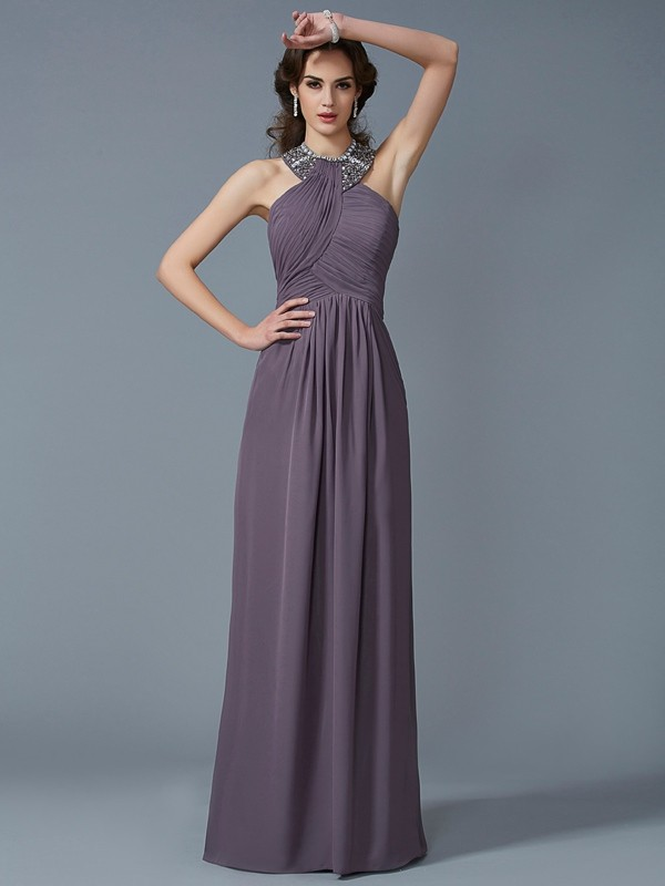 Sheath/Column High Neck Sleeveless Chiffon Long Dresses with Beading