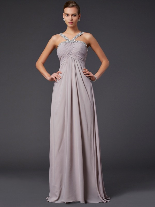 Sheath/Column Sleeveless Halter Sweep/Brush Train Chiffon Dresses with Beading