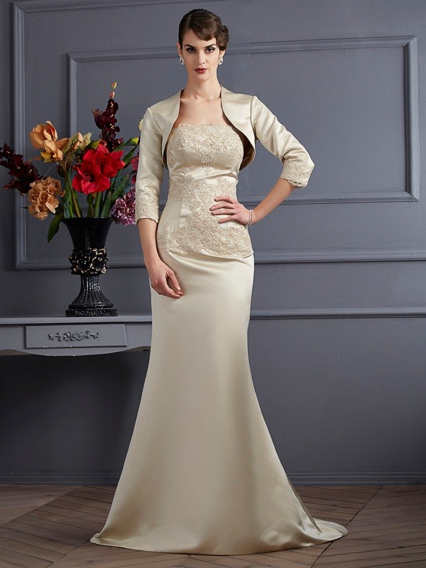 Trumpet/Mermaid Strapless Sleeveless Satin Mother of the Bride Dresses with Applique