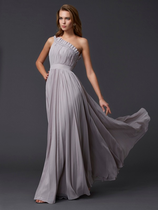 A-Line Sleeveless One-Shoulder Floor-Length Chiffon Dresses with Pleats