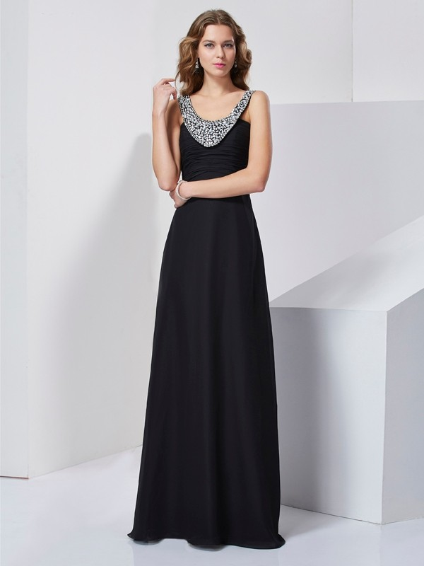 Scoop Sleeveless Chiffon Long Evening/Prom/Formal Dresses with Beading