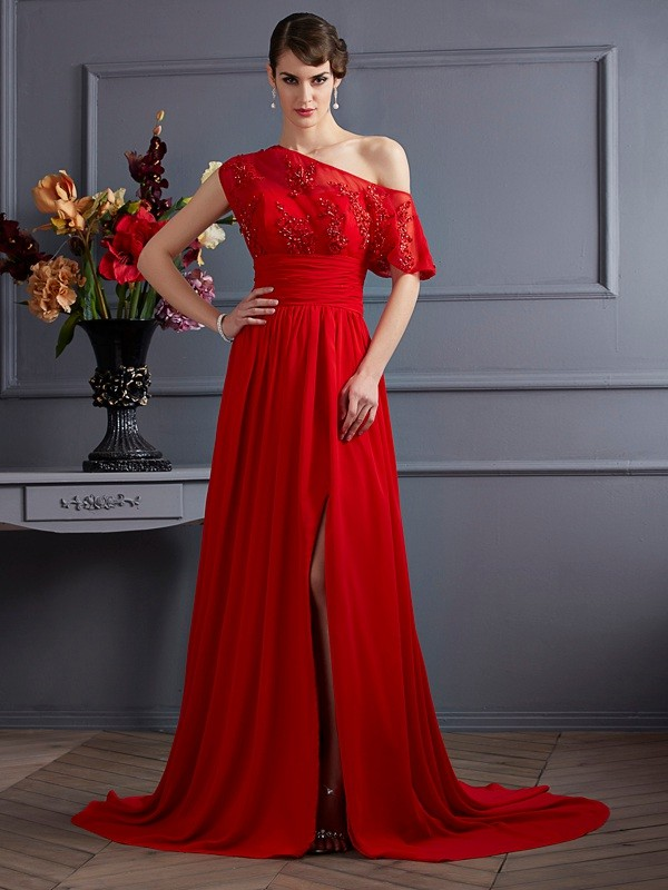 A-Line/Princess One-Shoulder Sleeveless Chiffon Court Train Prom/Evening Dresses with Applique