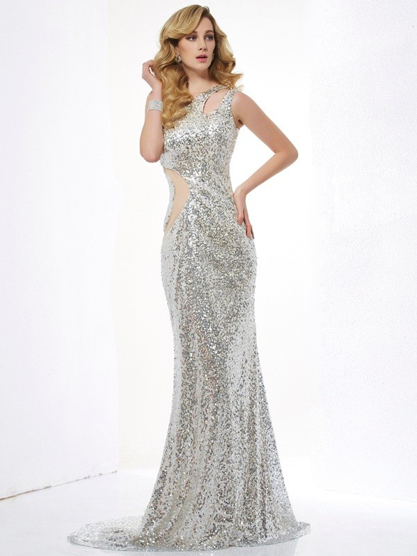Trumpet/Mermaid Sleeveless One-Shoulder Sequins Lace Sweep/Brush Train Dresses