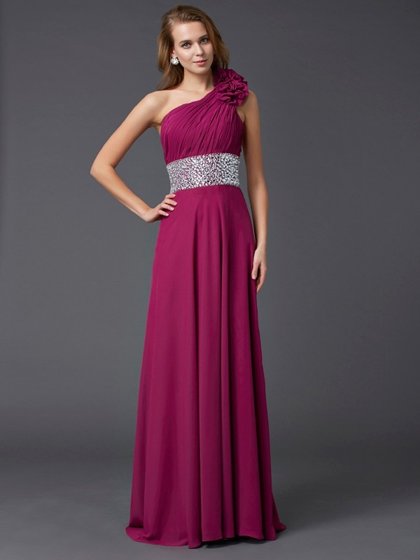 A-Line One-Shoulder Sweep/Brush Train Chiffon Dresses with Beading
