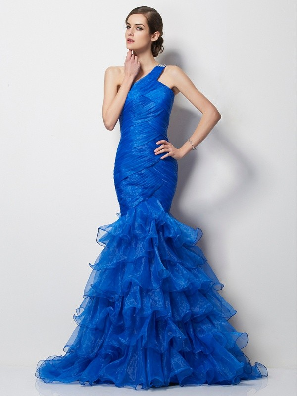 Trumpet/Mermaid One-Shoulder Sleeveless Sweep/Brush Train Tulle Dresses with Pleats