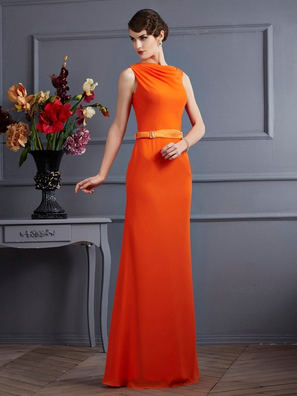 Sheath/Column Chiffon High Neck Sleeveless Long Dresses with Sash/Ribbon/Belt