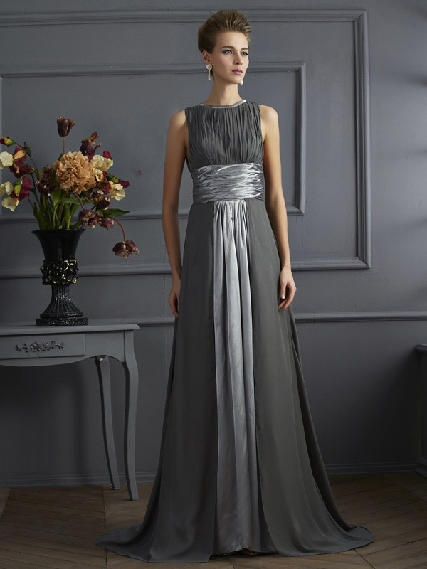 A-Line/Princess High Neck Sweep/Brush Train Chiffon Dresses with Pleats