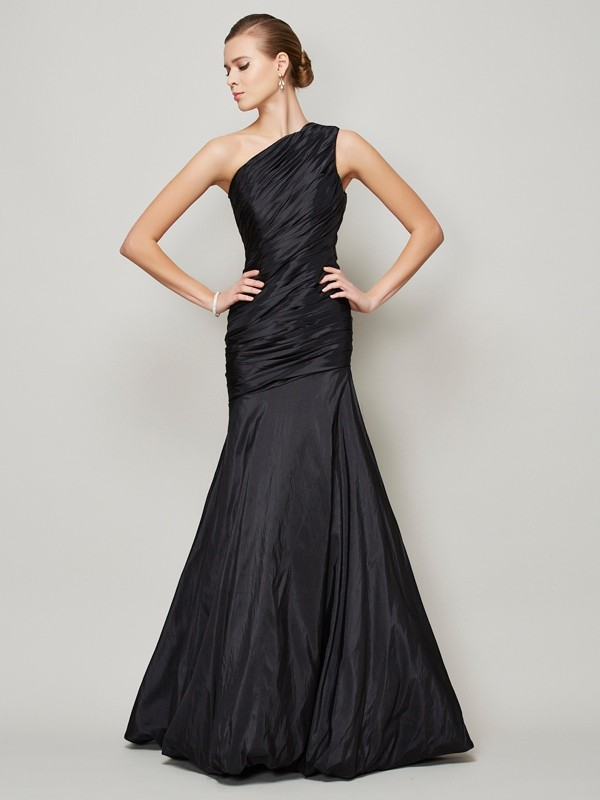 A-Line/Princess Sleeveless One-Shoulder Floor-Length Taffeta Dresses with Pleats