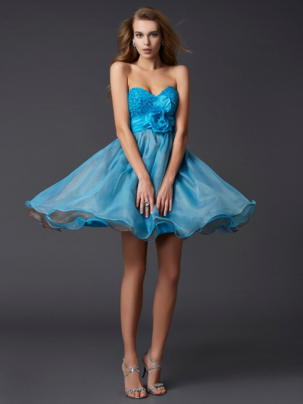 A-Line/Princess Sleeveless Sweetheart Paillette Short/Mini Taffeta Dresses