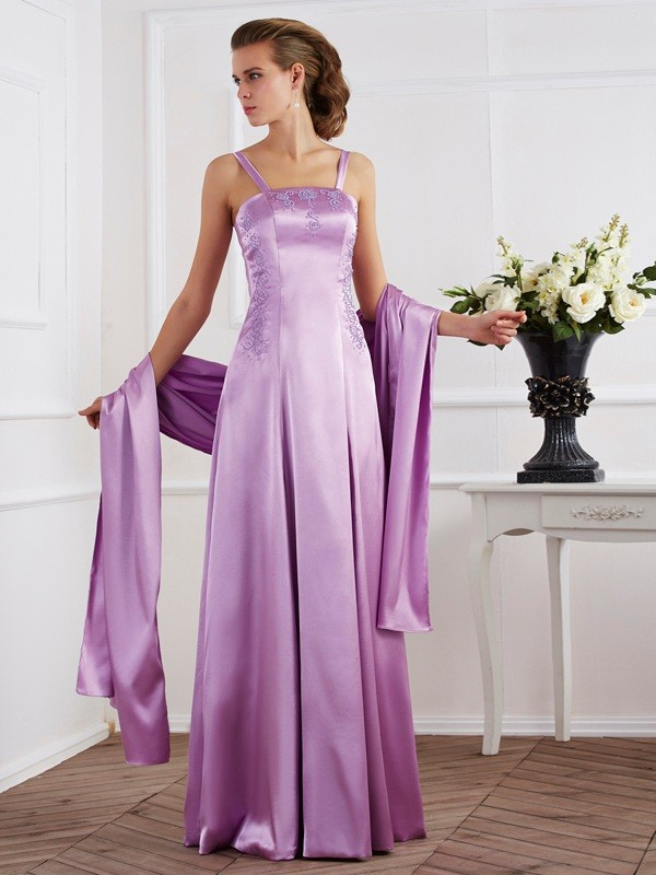 A-Line/Princess Sleeveless Spaghetti Straps Elastic Woven Long Dresses with Beading