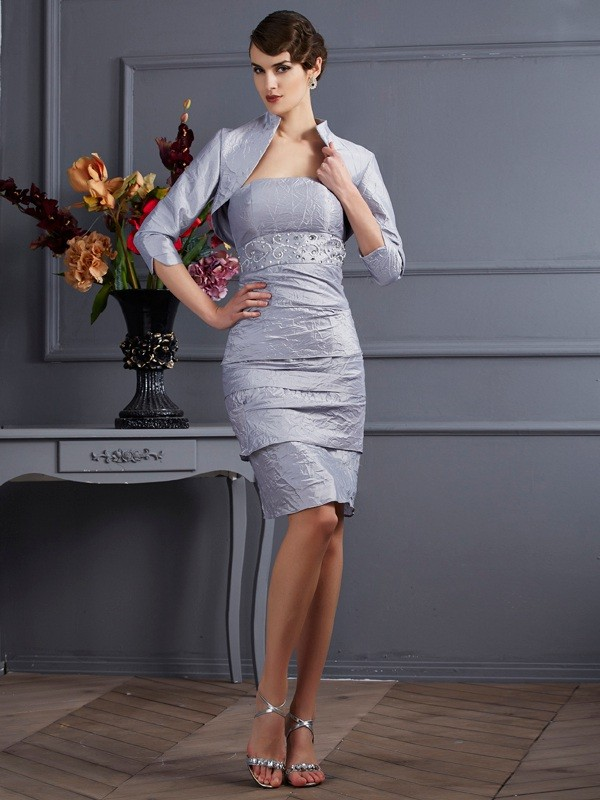 Sheath/Column Taffeta Strapless Sleeveless Knee-Length Dresses