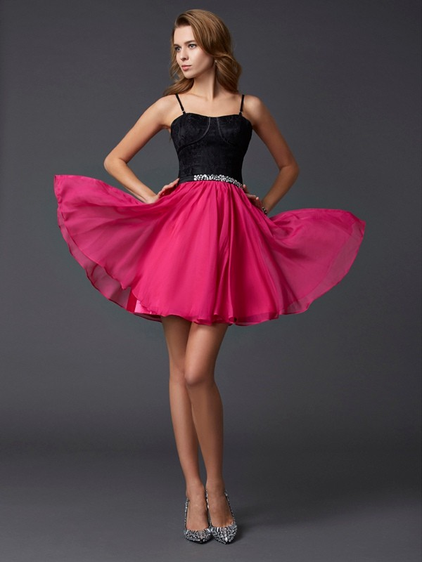 A-Line/Princess Sleeveless Spaghetti Straps Chiffon Short Cocktail/Homecoming Dresses