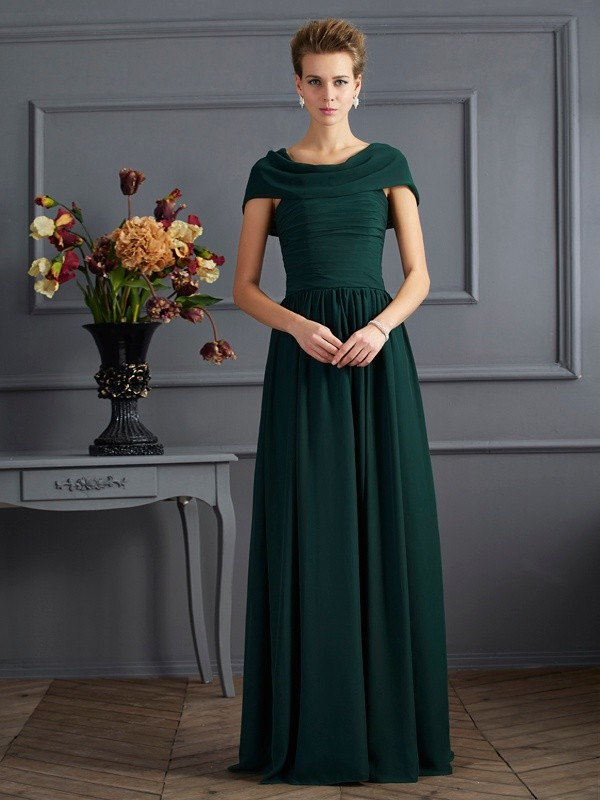 A-Line/Princess Scoop Short Sleeves Chiffon Long Dresses with Pleats