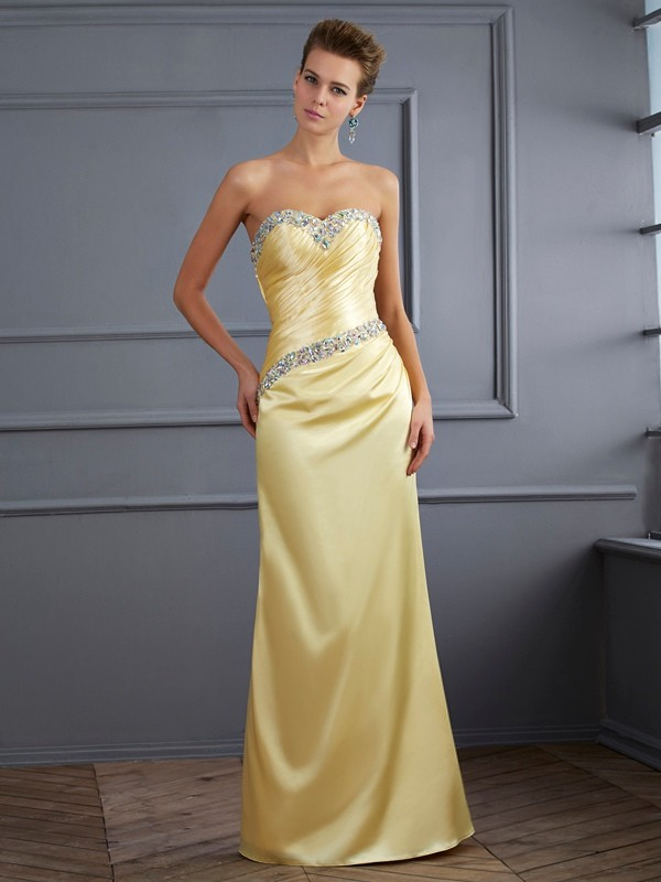 Mermaid Sweetheart Elastic Woven Satin Long Prom/Evening/Formal Dresses with Beading