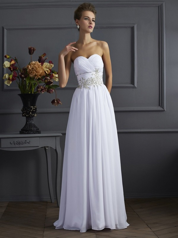 A-Line Sweetheart Sleeveless Chiffon Long Evening/Prom/Formal Dresses with Beaded