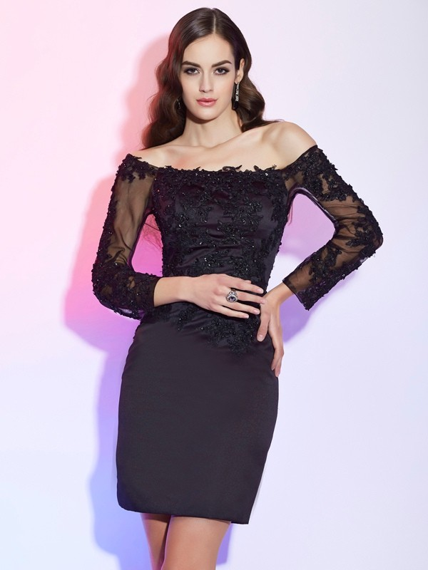 Sheath/Column Off-the-Shoulder Long Sleeves Satin Short/Mini Mother of the Bride Dresses with Applique