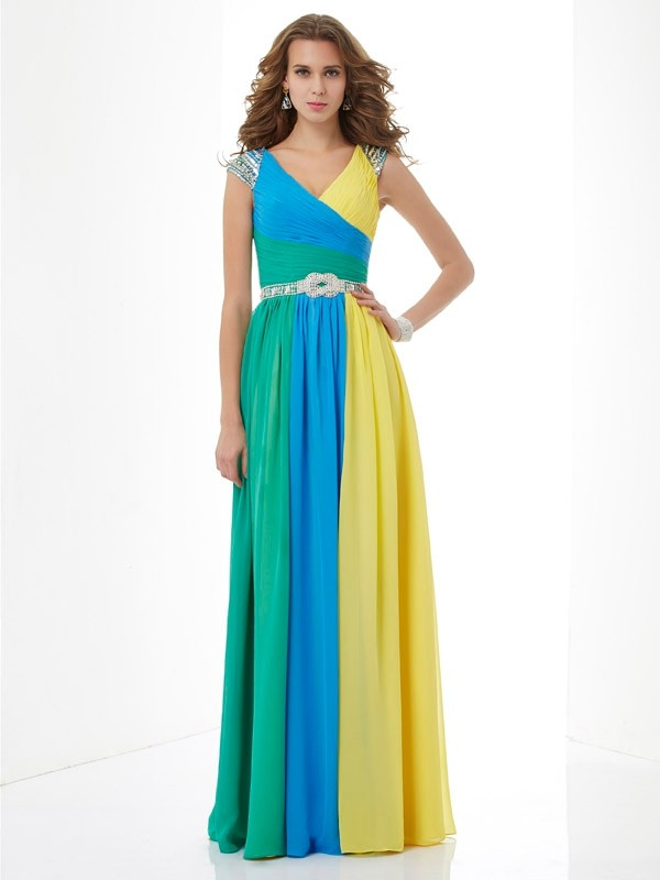 A-Line/Princess V-neck Short Sleeves Chiffon Long Prom/Evening Dresses with Beading