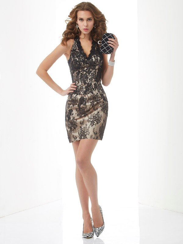 Sheath/Column Halter Sleeveless Lace Short Cocktail/Homecoming Dresses