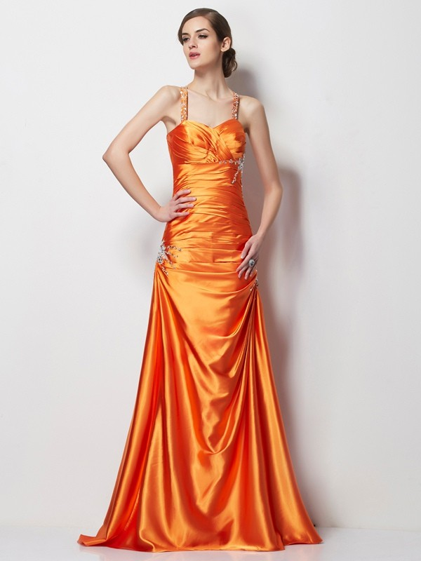 A-Line/Princess Spaghetti Straps Sleeveless Satin Sweep/Brush Train Elastic Woven Dresses with Beading