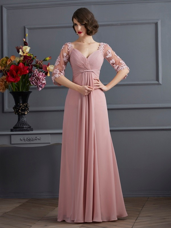 A-Line/Princess Sweetheart 1/2 Sleeves Floor-Length Chiffon Dresses with Applique