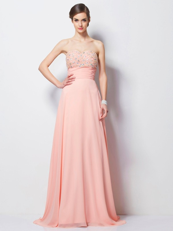 A-Line Sweetheart Sleeveless Sweep/Brush Train Chiffon Evening/Prom/Formal Dresses with Beading