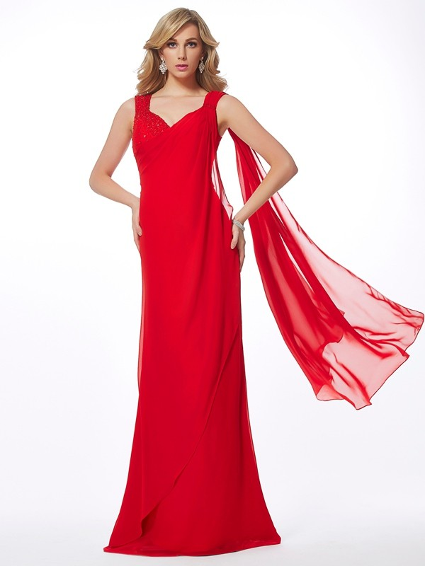 Column Straps Sleeveless Floor-Length Chiffon Evening/Prom/Formal Dresses with Beading