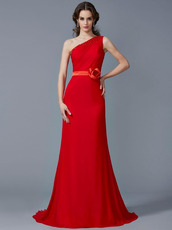 A-Line/Princess One-Shoulder Sweep/Brush Train Chiffon Evening/Prom/Formal Dresses with Beading