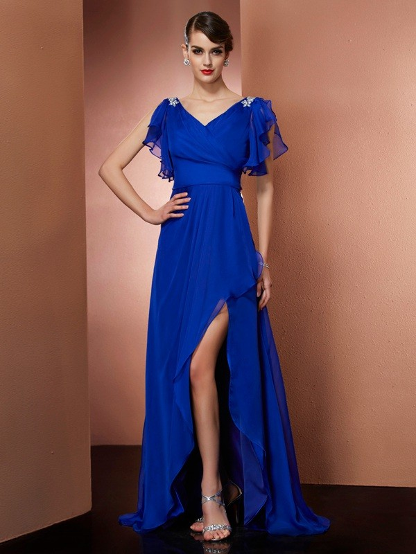 Sheath/Column V-neck Sleeveless Asymmetrical Chiffon Dresses with Beading