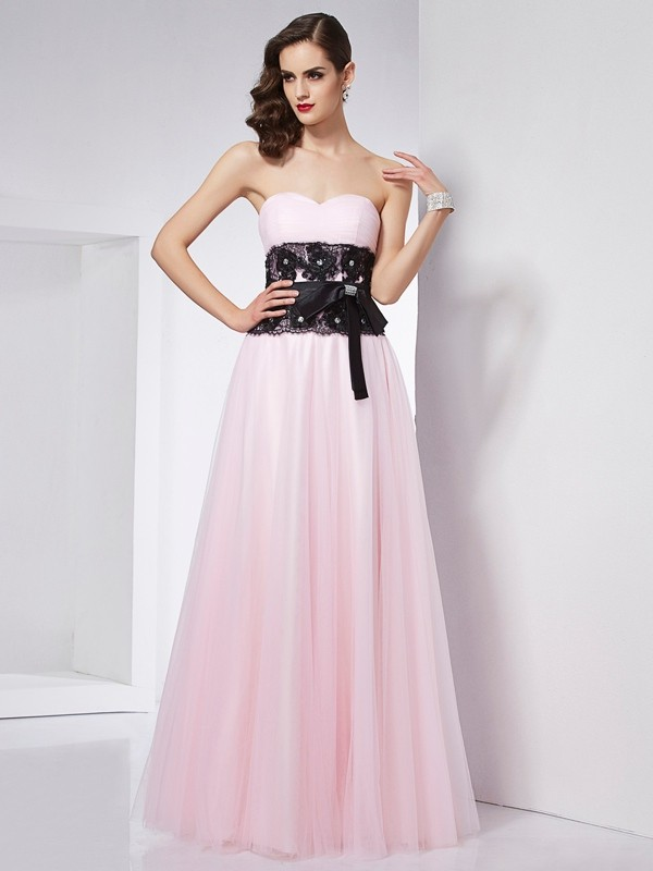 A-Line/Princess Sweetheart Sleeveless Floor-Length Lace Satin Dresses