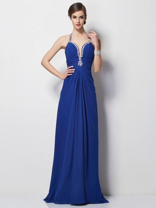 A-Line/Princess Halter Sleeveless Sweep/Brush Train Chiffon Dresses with Beading