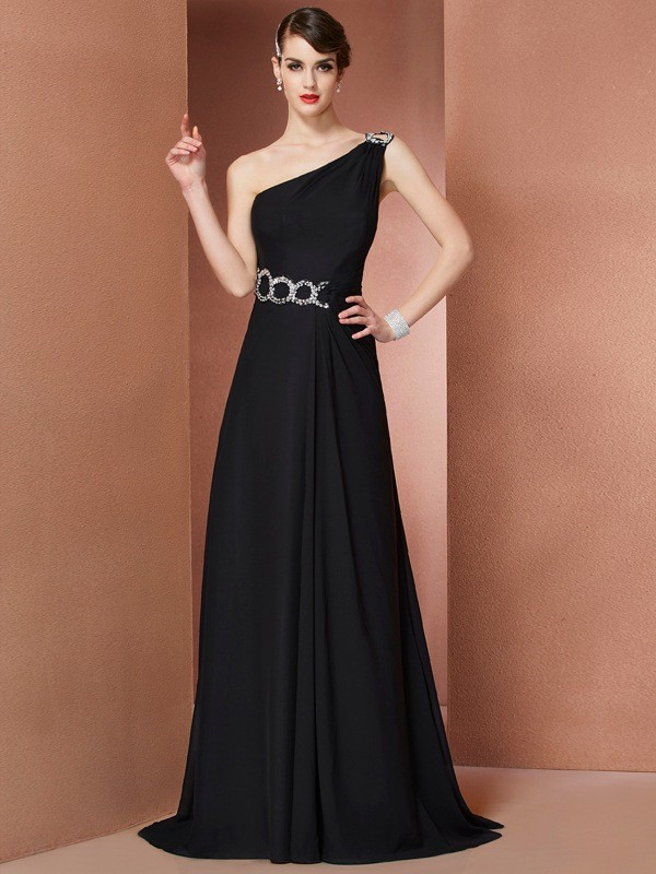 A-Line One-Shoulder Sleeveless Chiffon Sweep/Brush Train Evening/Prom/Formal Dresses with Beading