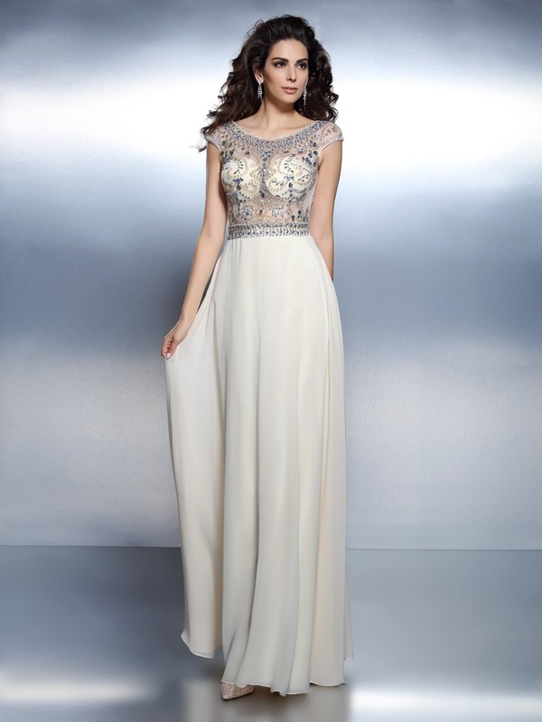 A-Line/Princess Bateau Short Sleeves Floor-Length Chiffon Formal/Evening/Prom Dresses with Beading