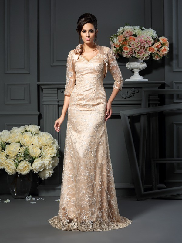 A-Line/Princess V-neck Lace Sleeveless Floor-Length Elastic Woven Satin Mother of the Bride Dresses