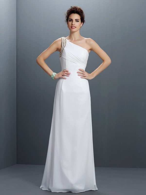 Sheath/Column One-Shoulder Sleeveless Floor-Length Chiffon Prom Dresses with Beading